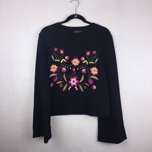 Forever 21 Plus Size Black Long Sleeve Floral Top